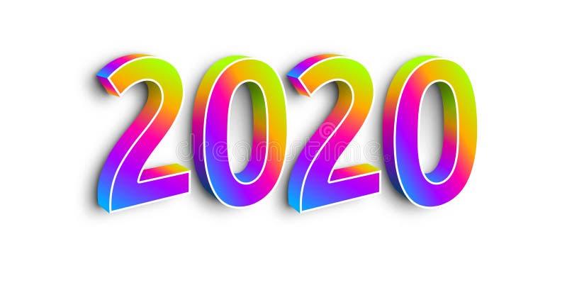 Neon Numbers 2020 im weißen Hintergrund stock abbildung