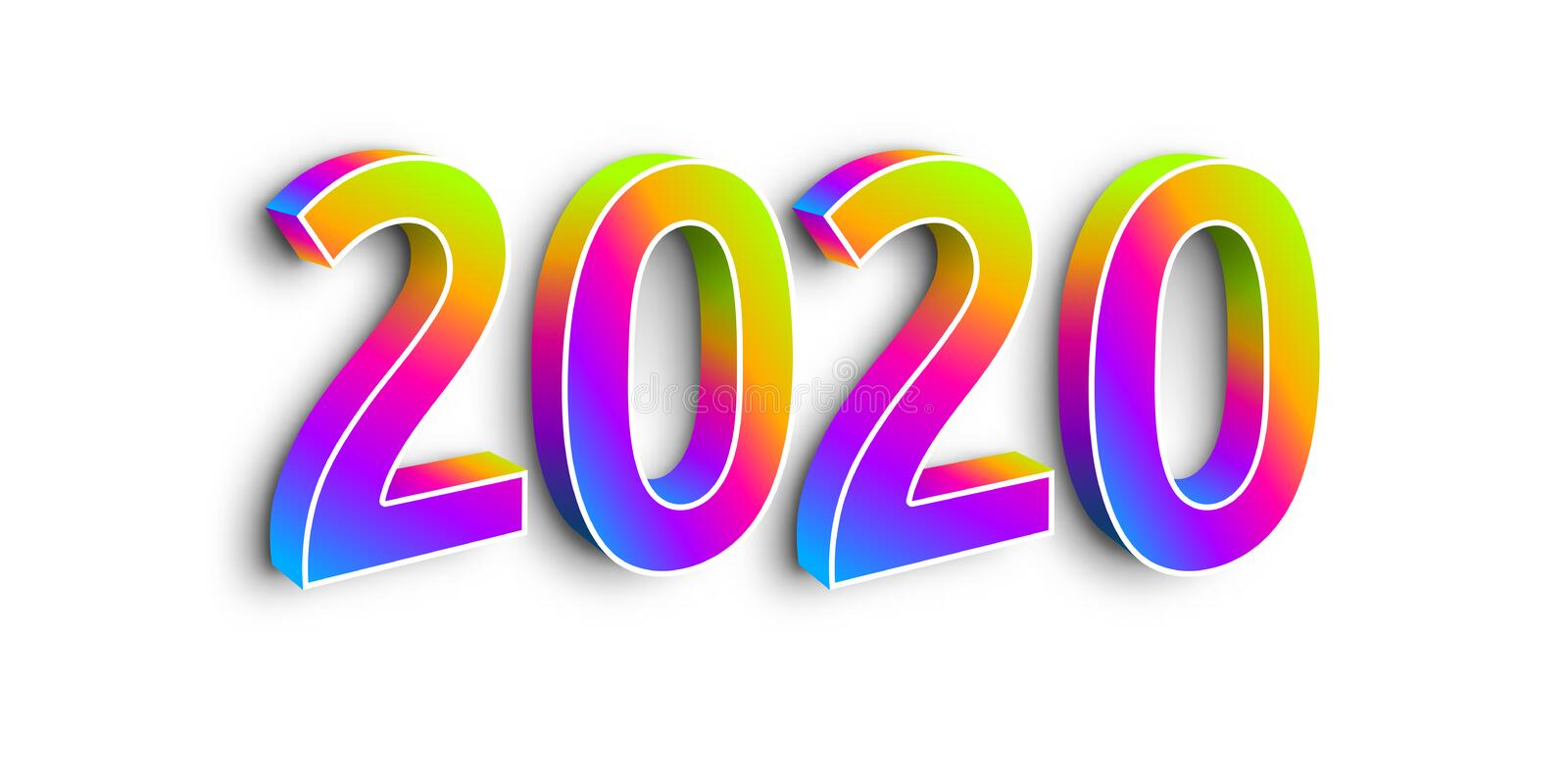 Neon Numbers 2020 on White Background. stock illustration