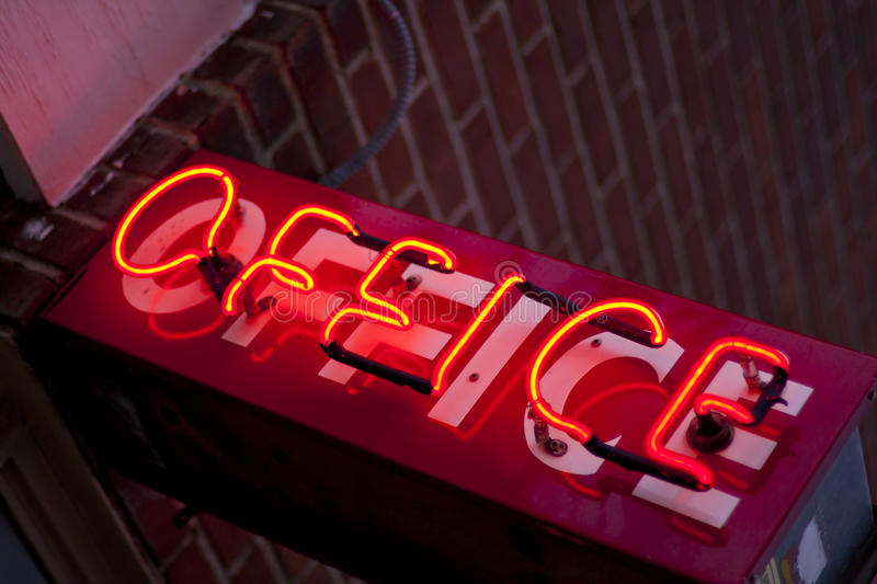 Download Neon Office Sign stock photo. Image of work, tilted, electric - 24514554