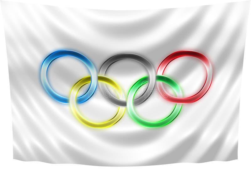 Neon Olympic flag stock illustration