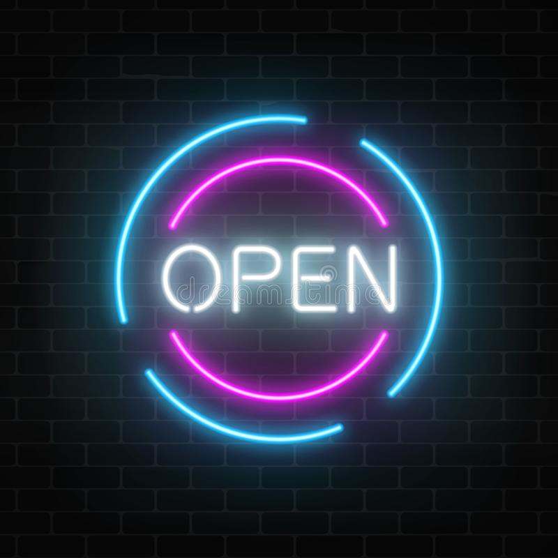 Neon open 24 hours and 7 days in circle frames sign on a brick wall background. Round the clock working store. Neon open 24 hours and 7 days in circle frames vector illustration