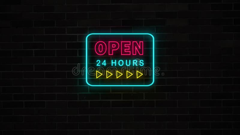 Neon open 24 hours sign with yellow arrows on grunge brick wall. royalty free illustration