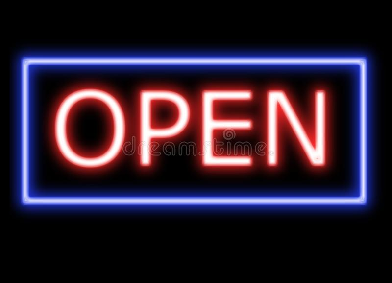 Neon Open Sign banner in red vector illustration