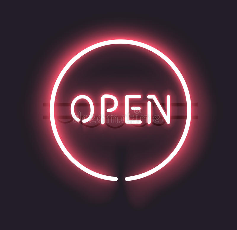 Neon Open Sign. Classic OPEN neon sign. EPS 10 with gradient mesh. Fully transparent, any dark background can be used vector illustration