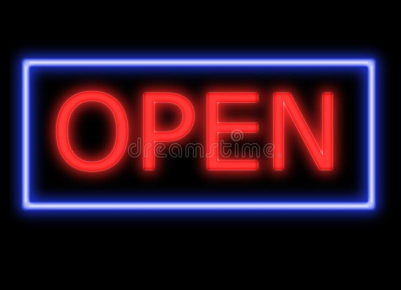 Neon Open Sign high res on black vector illustration