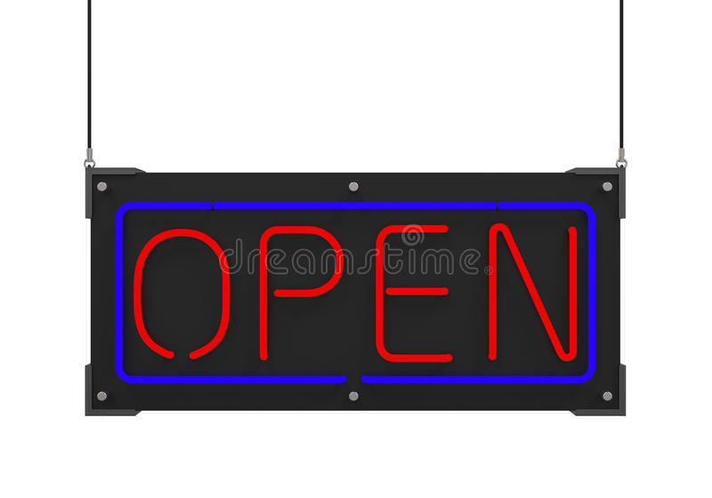 Neon Open Sign royalty free illustration