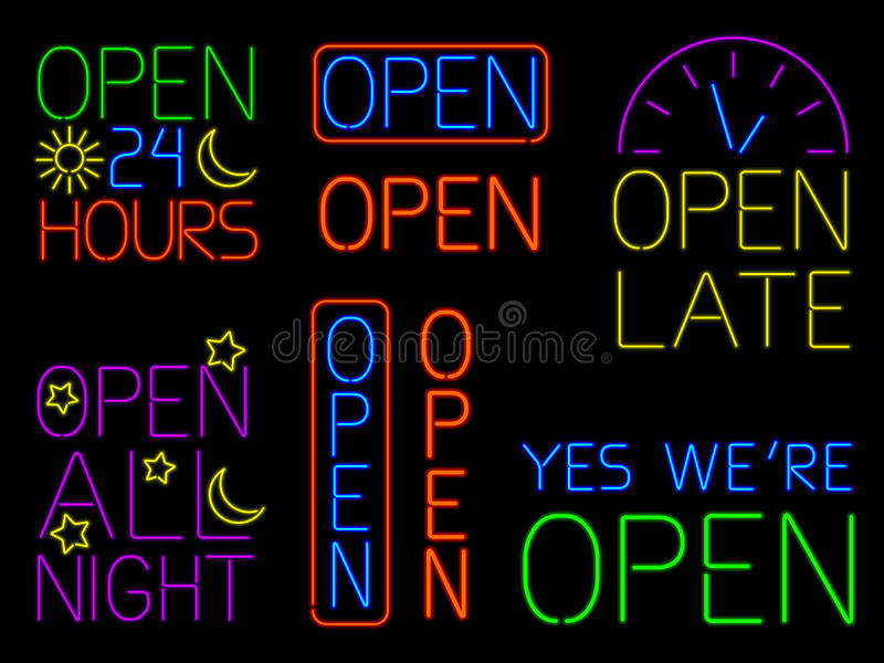 Download Neon Open Signs stock vector. Illustration of word, glow - 25921631