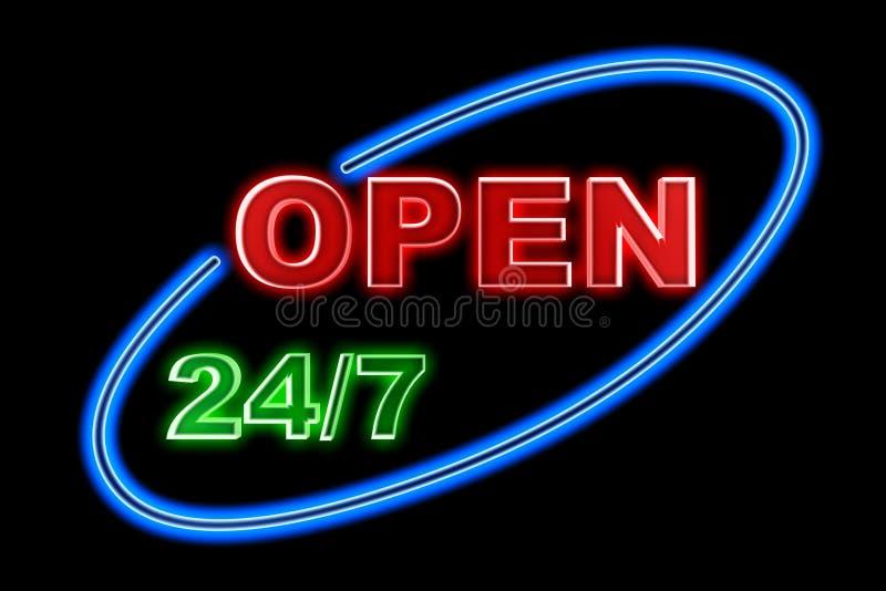 Neon Open undertecknar royaltyfri illustrationer