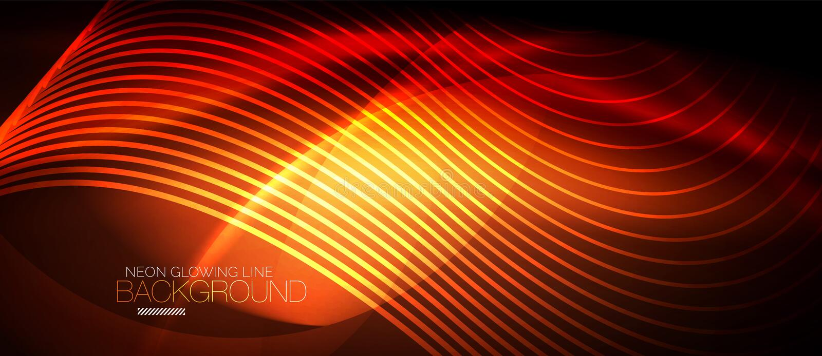 Neon smooth wave digital abstract background. Neon orange vector smooth wave digital abstract background royalty free illustration