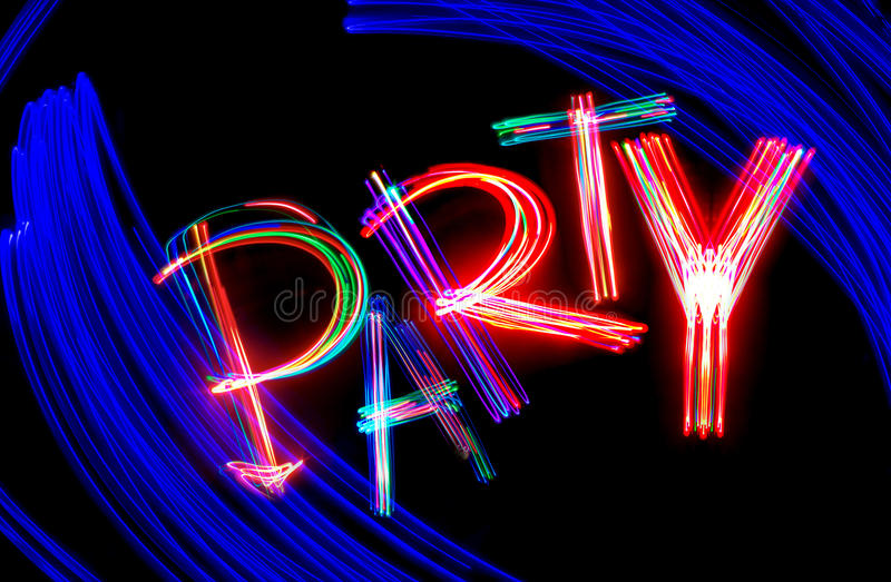 Neon party. The word party, executed by technology of freezelight photo