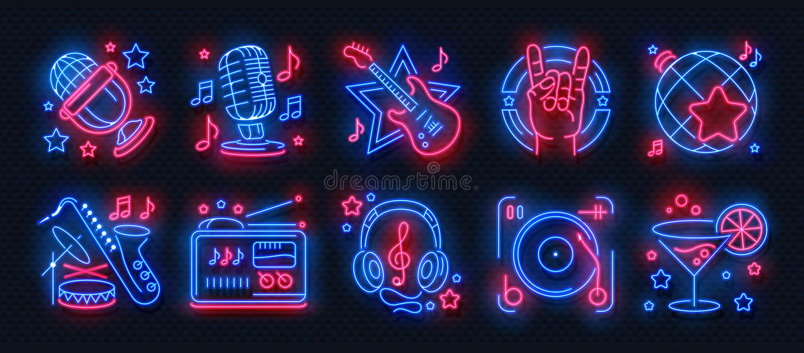 Neon party icons. Dance music karaoke light signs, glowing concert banner, rock bar disco poster. Vector retro night stock illustration