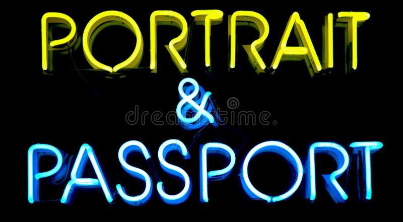 neon paszportu znak obrazy royalty free
