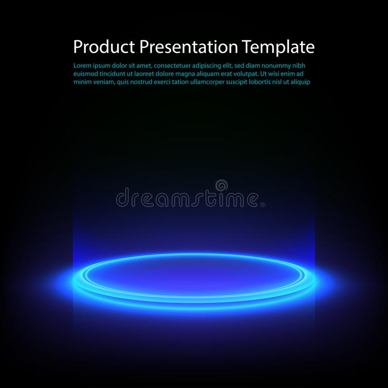 Free Neon Pedestal. Blue Glowing Ring On Glossy Floor. Abstract Hi-tech Background For Display Product. Vector Template. Stock Photo - 167998070