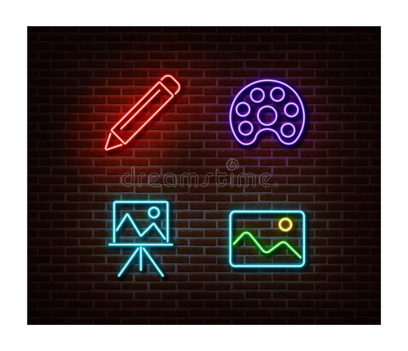 Neon pencil, paint, picture, easel signs vector isolated on brick wall. Art light symbol, decoration royalty free illustration