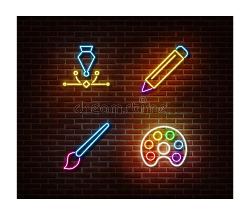 Neon pencil, paint tool, pen, brush signs vector isolated on brick wall. Drawing light symbol, decor vector illustration