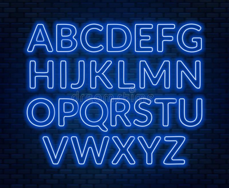 Neon pink alphabet on brick wall background. Capital letter. Vector illustration stock illustration