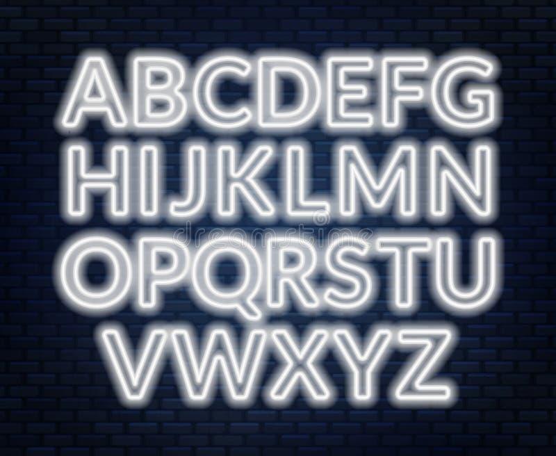 Neon pink alphabet on brick wall background. Capital letter. Vector illustration royalty free illustration