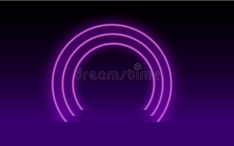 Neon pink background light black circle illustration. Element of neon background vector illustration