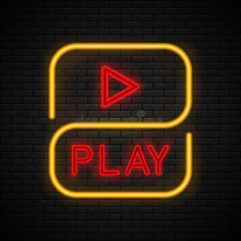 Neon play sign. royalty free illustration