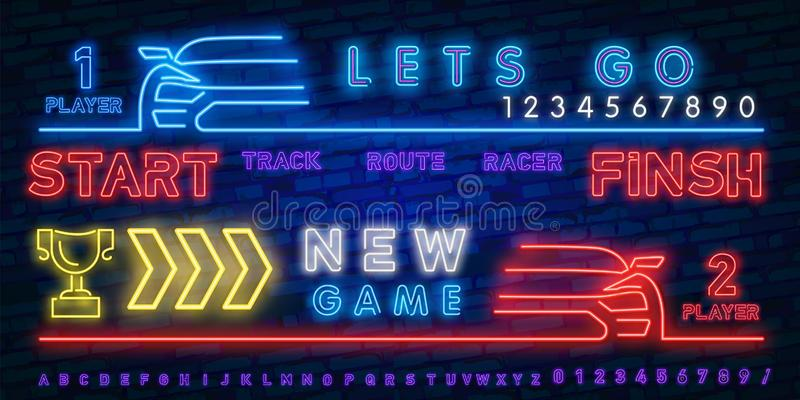 Neon Play and Win. Esports neon light icons set. Gaming device and gadgets. Video game tournaments. Glowing signs. Vector isolated stock illustration