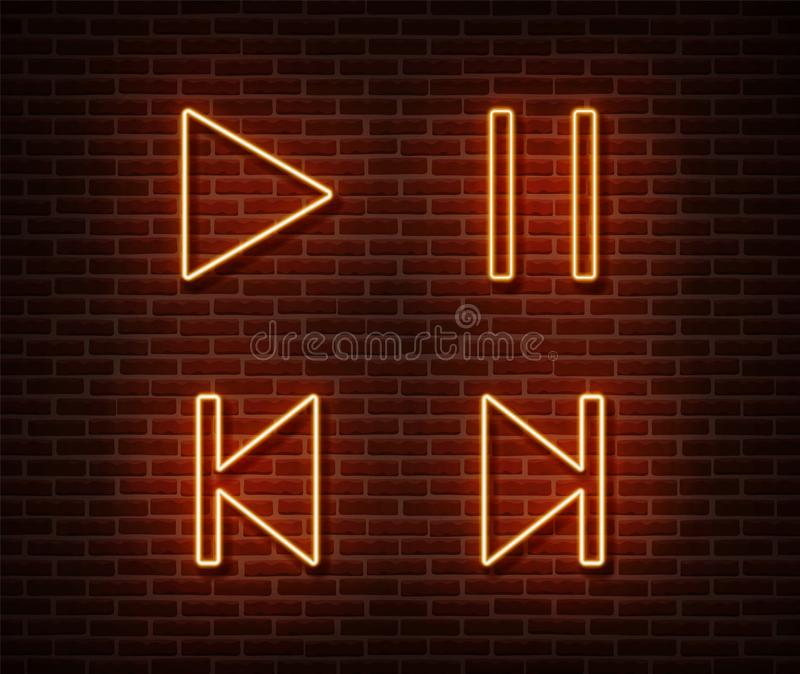 Neon player button signs vector isolated on brick wall. Play, pause, next, previous track light symb stock illustration