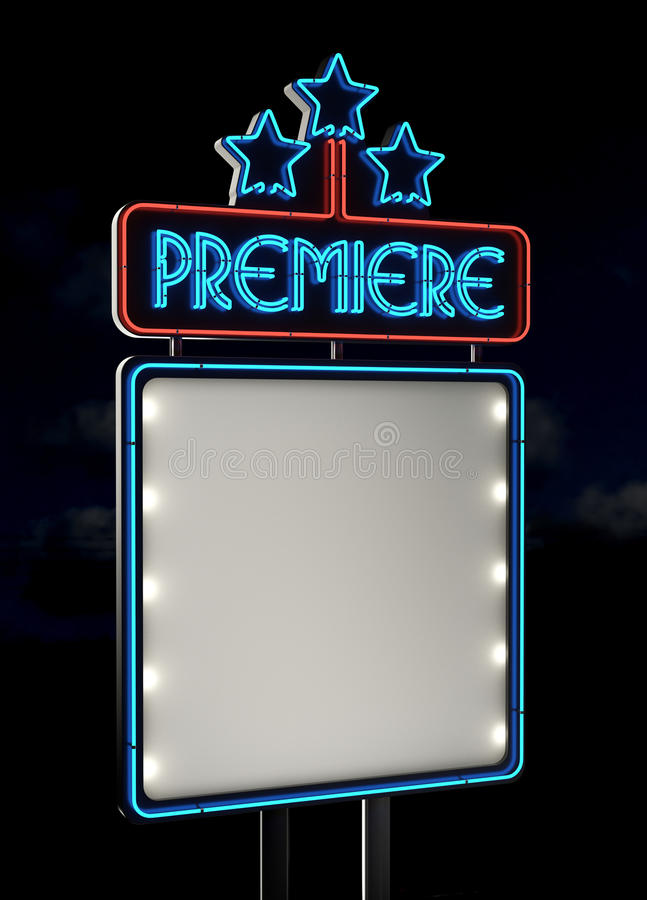 Download Neon Premiere sign stock illustration. Image of advertising - 24892907