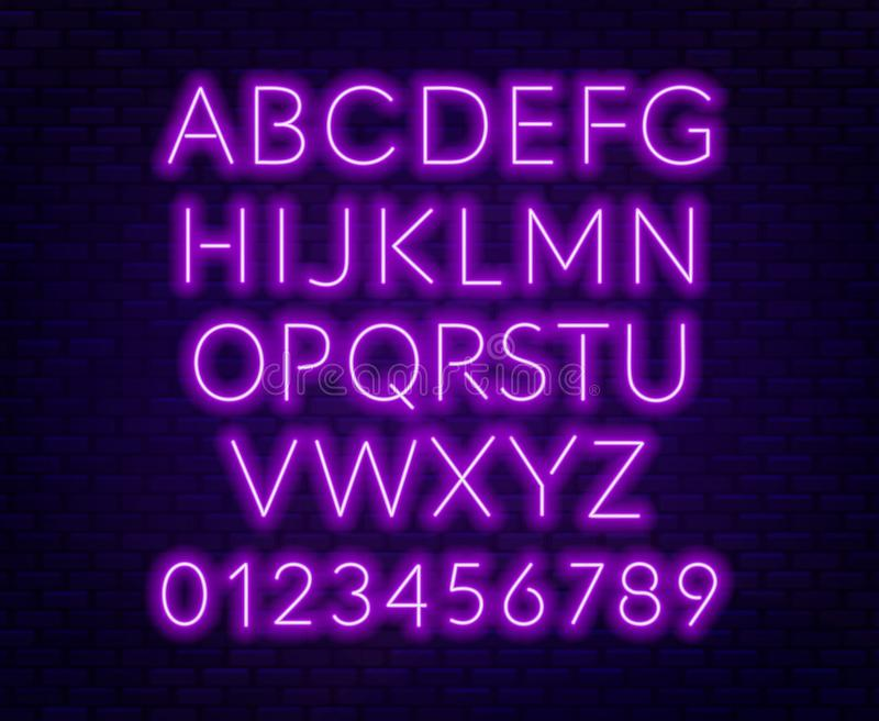 Neon purple alphabet on brick wall background. Capital letter. Vector illustration royalty free illustration