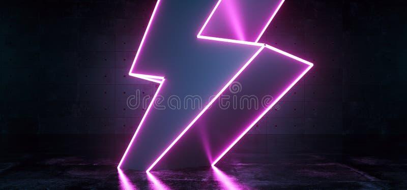 Neon Purple Glowing Futuristic Sci Fi Modern Lightning Bolt High Voltage Shape In Dark Concrete Reflective Grunge Room Empty Space vector illustration
