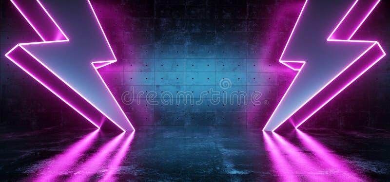 Neon Purple Glowing Futuristic Sci Fi Modern Lightning Bolt High Voltage Shapes In Dark Concrete Reflective Grunge Room Empty stock illustration