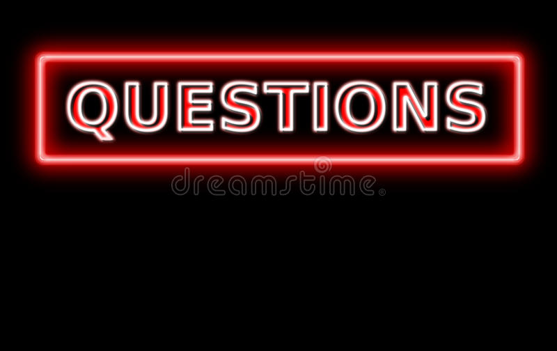 Neon questions sign. With blank space for your text stock illustration