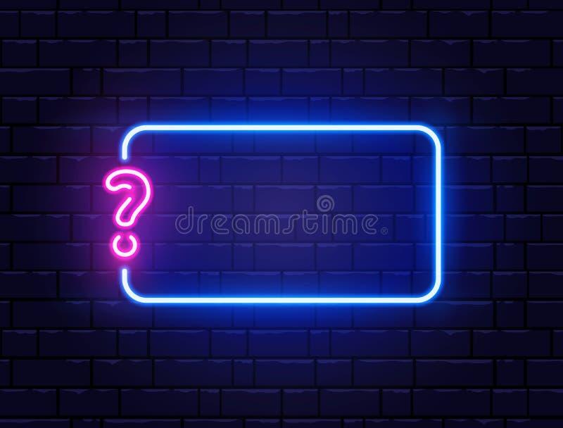 Neon quiz baner Znak zapytania Kolor neonowy baner na ścianie z cegły Realistyczna tablica nocna Neon świecący royalty ilustracja