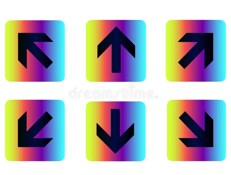 Neon arrow buttons, arrow icons, arrow icon for web site. Neon rainbow pointers, arrows - arrow icons for web site or navigation on social instagram page vector illustration