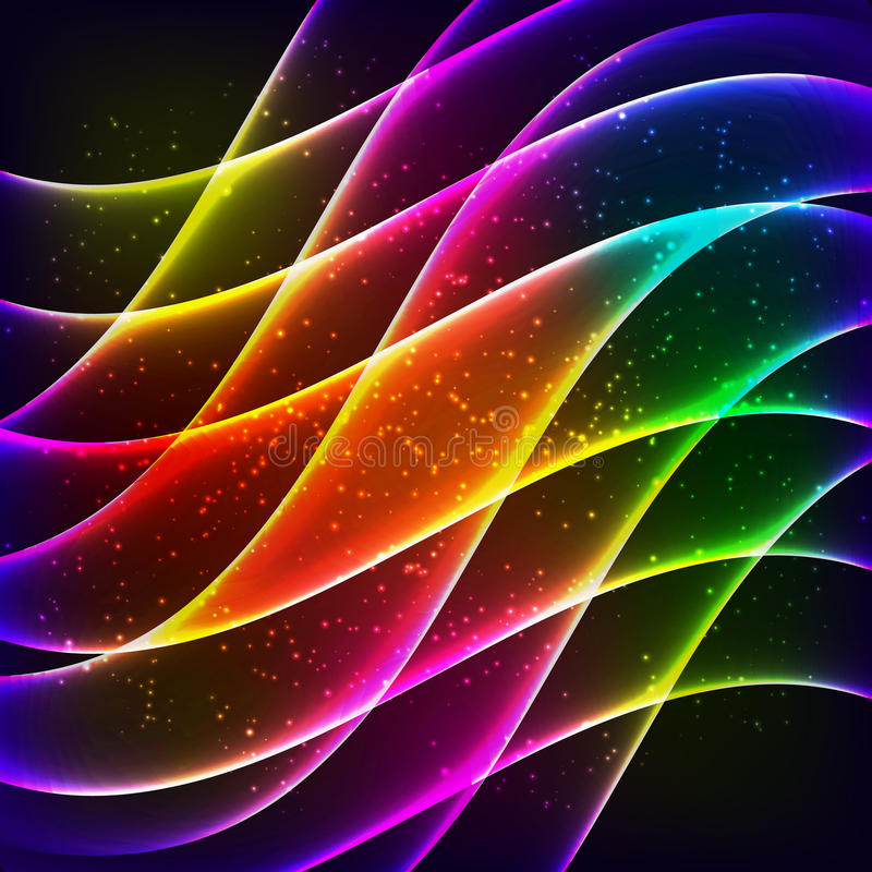 Neon Rainbow Waves Vector Background Stock Vector