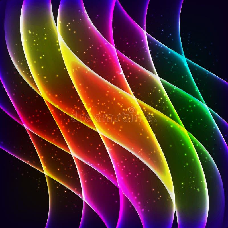 neon rainbow waves vector background stock vector