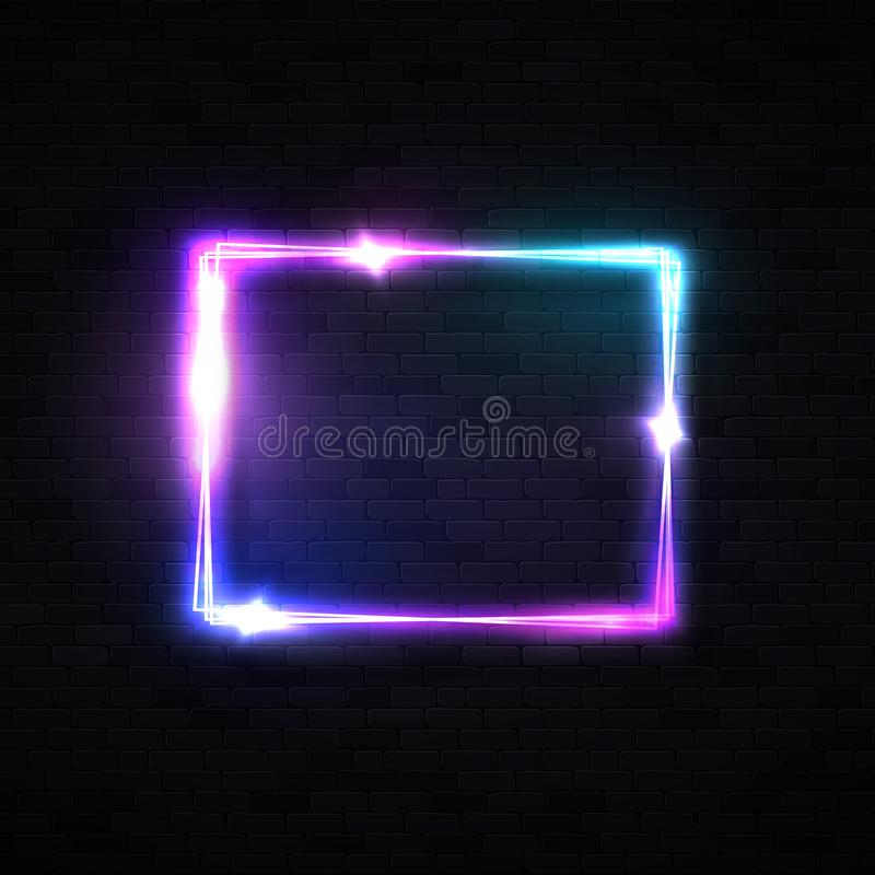Neon rectangle laser wall sign on black brick background. Electric power glowing banner light line neon frame design. Neon rectangle laser wall sign on black vector illustration