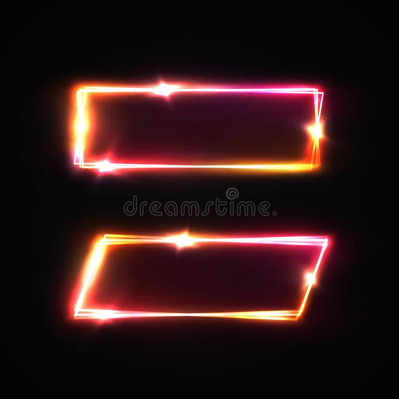 Neon rectangle signs set. Glowing electric laser borders with light flash on dark red background with blank text space. Neon rectangle signs set. Glowing stock illustration
