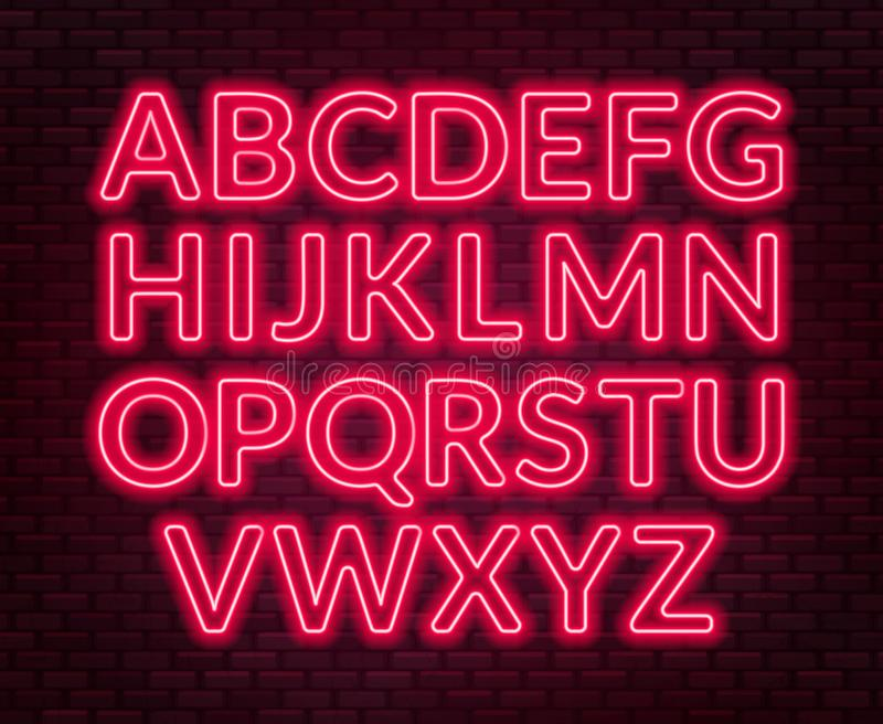 Neon red alphabet on brick wall background. Capital letter. Vector illustration stock illustration