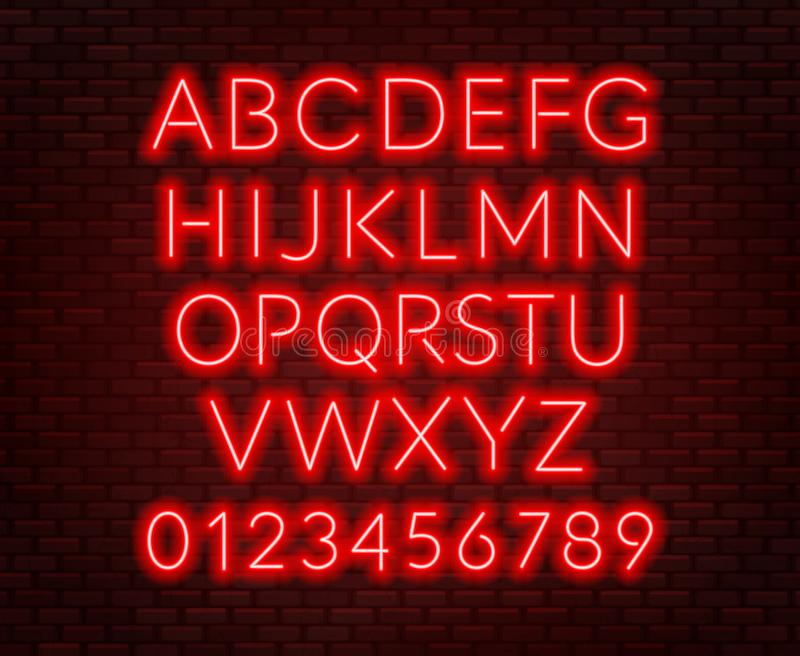 Neon red alphabet on brick wall background. Capital letter. Vector illustration vector illustration