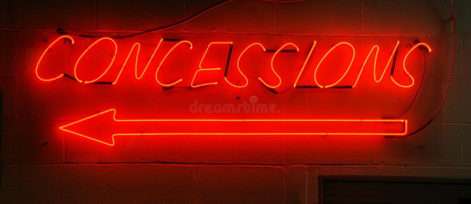 Neon Red Concessions Sign. Typically found in arenas stock photo