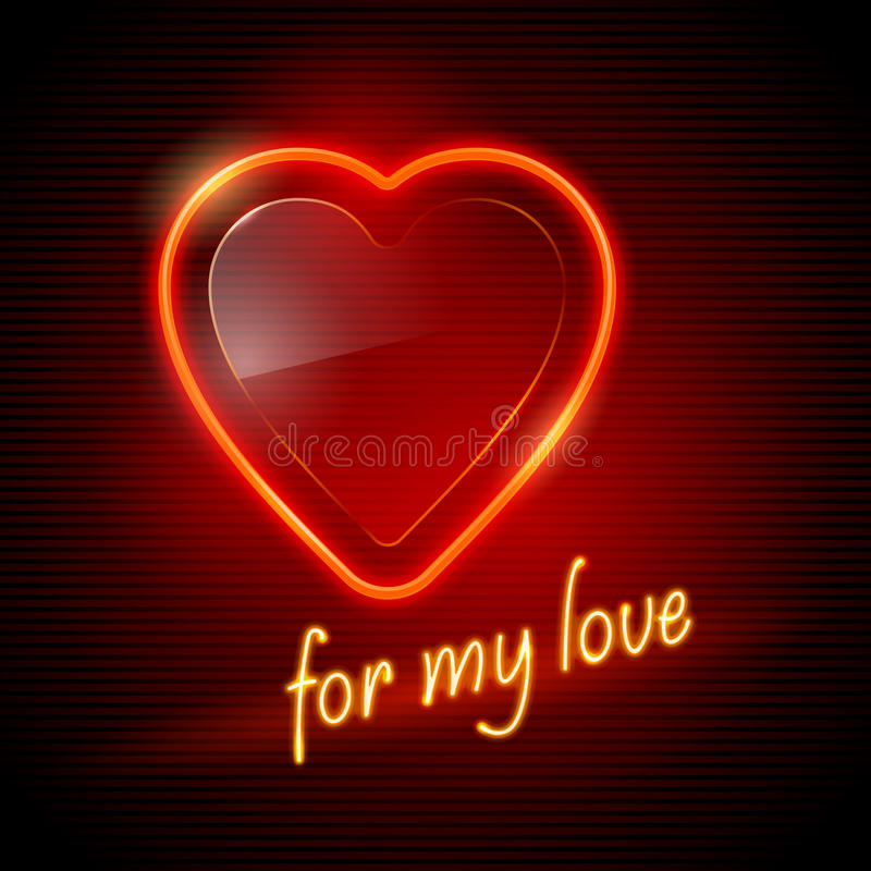 Download Neon red heart stock vector. Illustration of advertising - 20748431