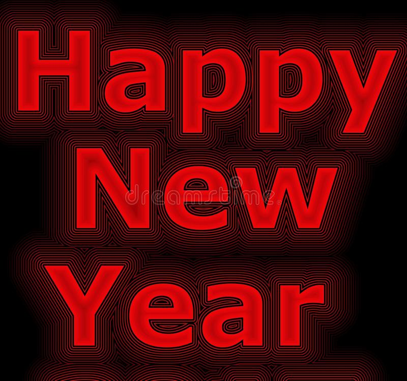 Neon red New year banner vector illustration