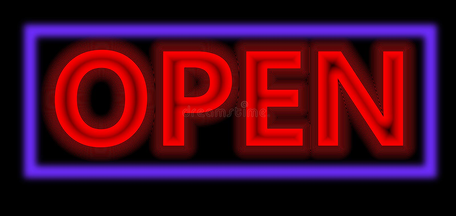 Neon red open sign royalty free stock image