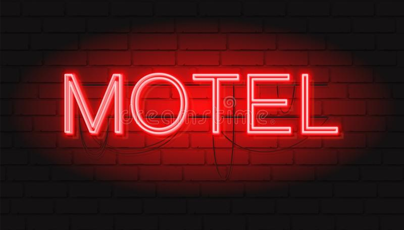 Neon red sign MOTEL. Vector illustration with Neon graphic style royalty free illustration