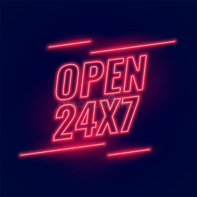 Neon red signboard for 24/7 open hours. Vector stock illustration