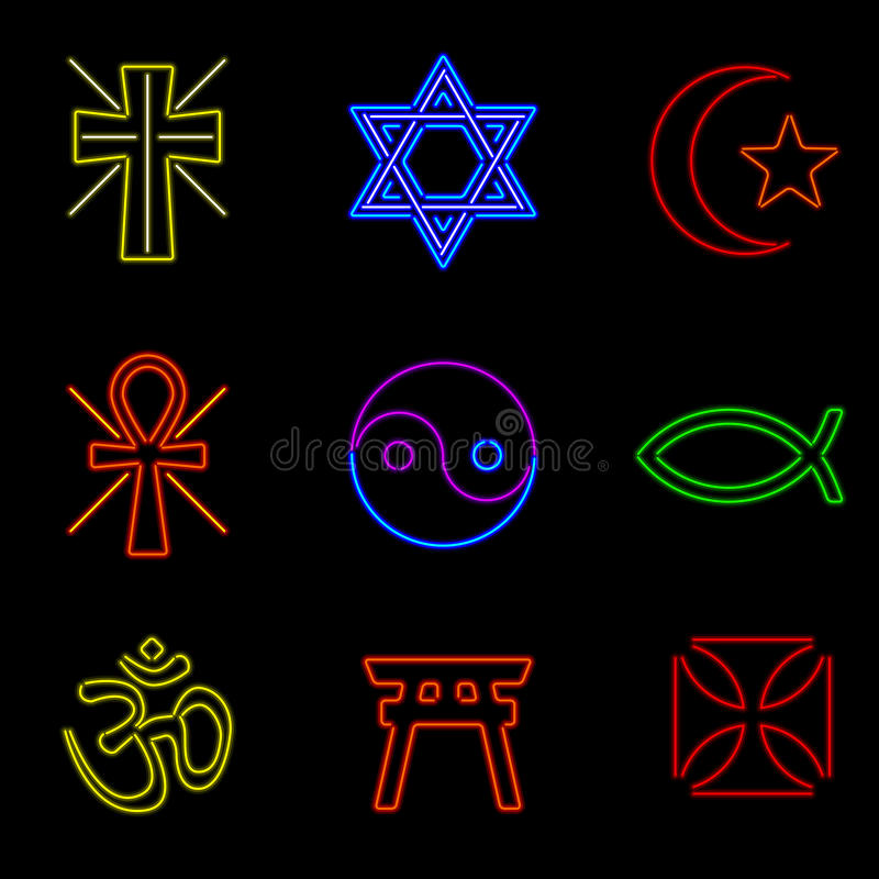 Download Neon Religious Symbols stock vector. Image of neon, glow - 26417932
