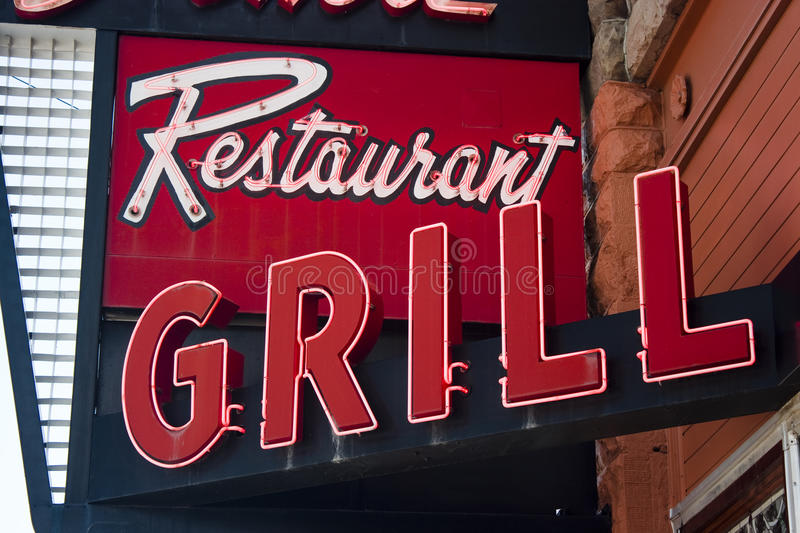 Neon Restaurant Grill Sign stock image