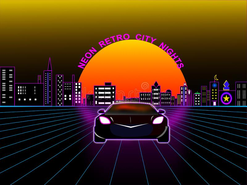 Neon Retro City Night stock images