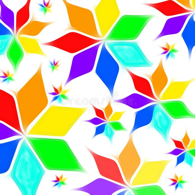 Neon rhombus flower pattern of rainbow color blue pink sky red orange voilet green yellow in white background. Neon Ring complex swirl feather pattern of rainbow stock illustration