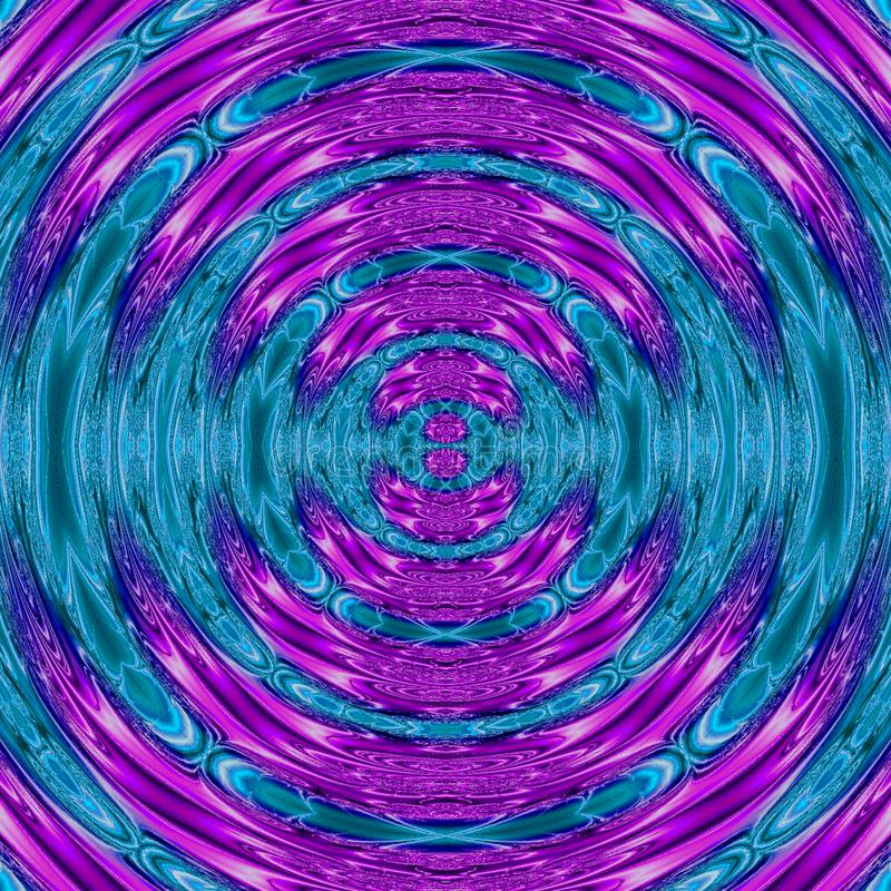 Neon rotate illustration with glowing circular frame in blue teal and ultra violet effect ripples of neon teal and lavender colors royalty free stock photography