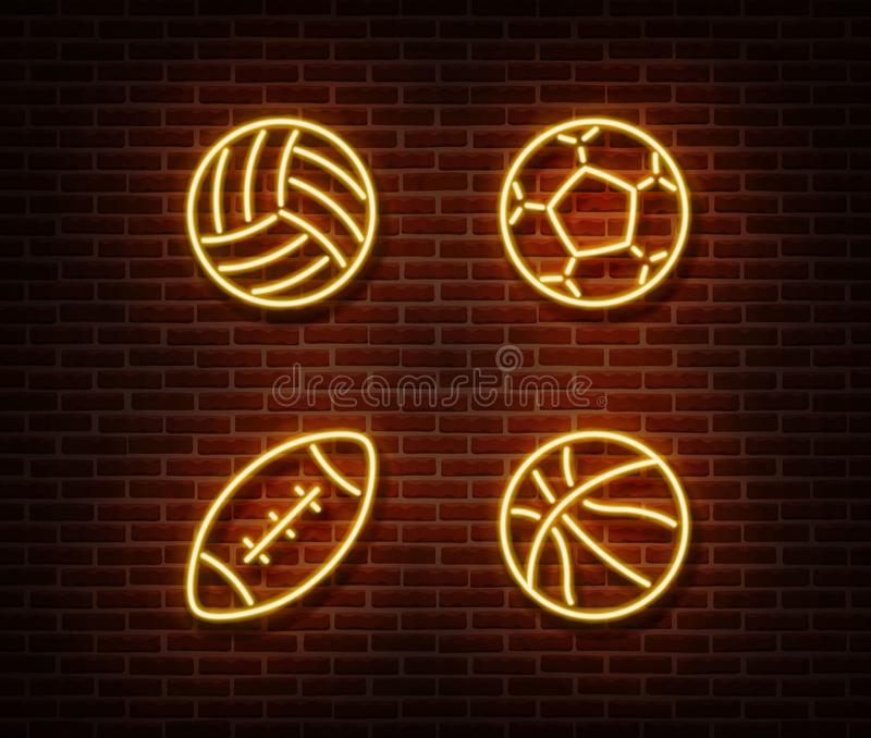 Neon rugby, soccer, basketball, volleyball balls sign vector isolated on brick wall. Sport balls lig royalty free illustration